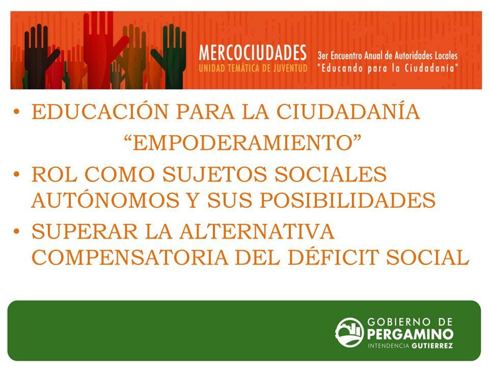EDUCACIÓN PARA LA CIUDADANÍA EMPODERAMIENTO ROL COMO SUJETOS SOCIALES AUTÓNOMOS Y SUS POSIBILIDADES SUPERAR LA ALTERNATIVA COMPENSATORIA DEL DÉFICIT SOCIAL