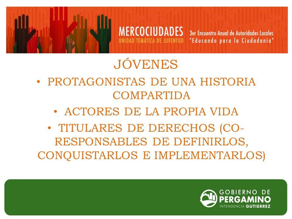 JÓVENES PROTAGONISTAS DE UNA HISTORIA COMPARTIDA ACTORES DE LA PROPIA VIDA TITULARES DE DERECHOS (CO- RESPONSABLES DE DEFINIRLOS, CONQUISTARLOS E IMPLEMENTARLOS)