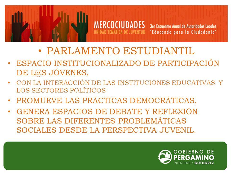 PARLAMENTO ESTUDIANTIL ESPACIO INSTITUCIONALIZADO DE PARTICIPACIÓN DE L@S JÓVENES, CON LA INTERACCIÓN DE LAS INSTITUCIONES EDUCATIVAS Y LOS SECTORES POLÍTICOS PROMUEVE LAS PRÁCTICAS DEMOCRÁTICAS, GENERA ESPACIOS DE DEBATE Y REFLEXIÓN SOBRE LAS DIFERENTES PROBLEMÁTICAS SOCIALES DESDE LA PERSPECTIVA JUVENIL.