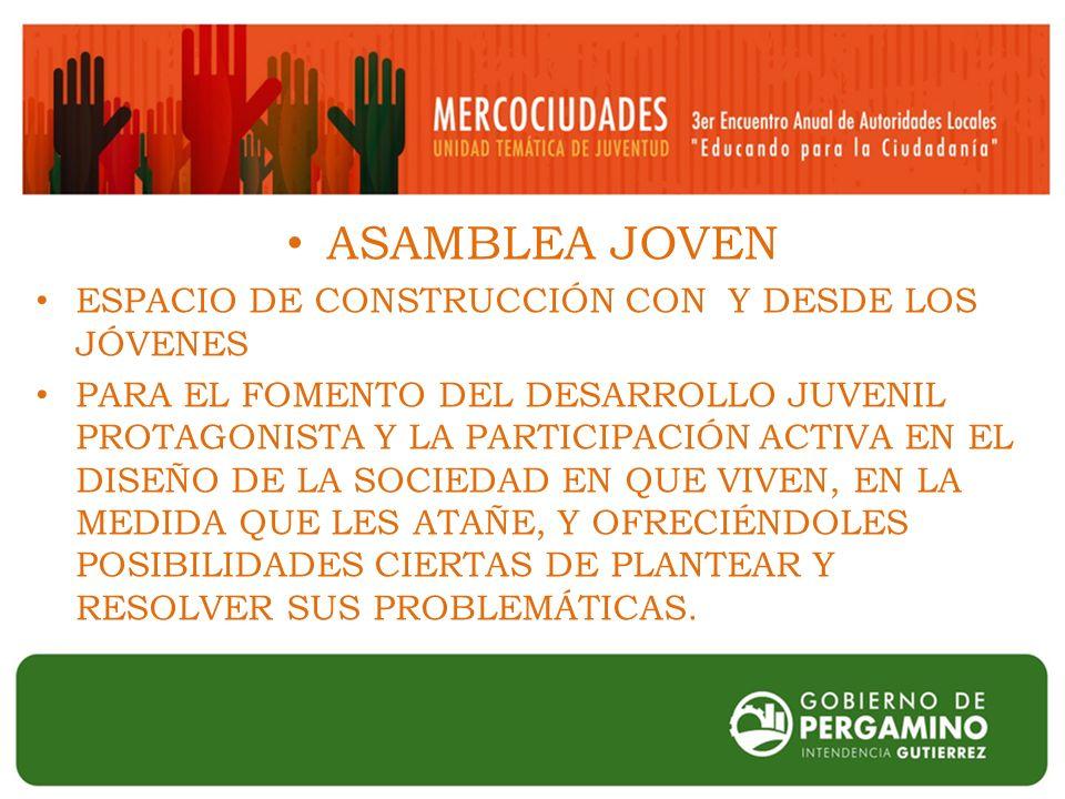 ASAMBLEA JOVEN ESPACIO DE CONSTRUCCIÓN CON Y DESDE LOS JÓVENES PARA EL FOMENTO DEL DESARROLLO JUVENIL PROTAGONISTA Y LA PARTICIPACIÓN ACTIVA EN EL DISEÑO DE LA SOCIEDAD EN QUE VIVEN, EN LA MEDIDA QUE LES ATAÑE, Y OFRECIÉNDOLES POSIBILIDADES CIERTAS DE PLANTEAR Y RESOLVER SUS PROBLEMÁTICAS.