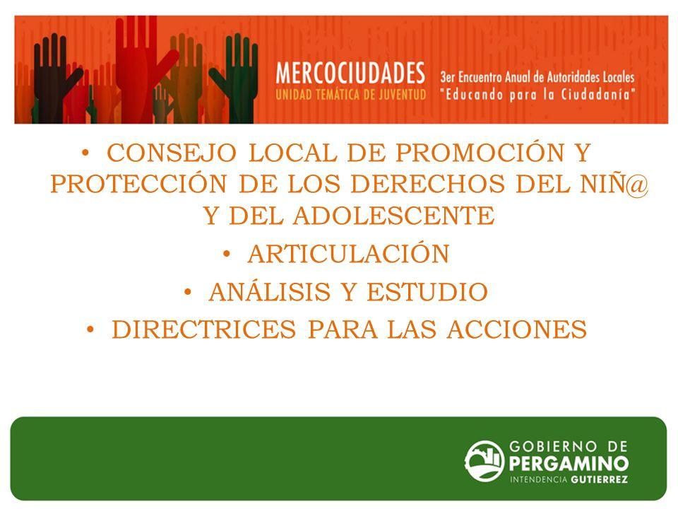 CONSEJO LOCAL DE PROMOCIÓN Y PROTECCIÓN DE LOS DERECHOS DEL NIÑ@ Y DEL ADOLESCENTE ARTICULACIÓN ANÁLISIS Y ESTUDIO DIRECTRICES PARA LAS ACCIONES