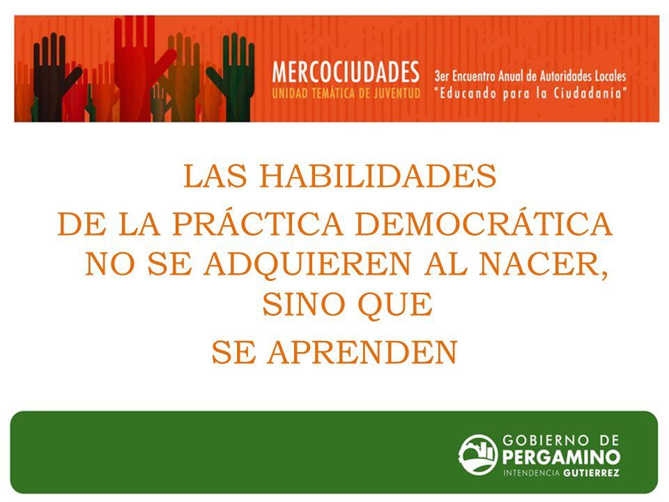 LAS HABILIDADES DE LA PRÁCTICA DEMOCRÁTICA NO SE ADQUIEREN AL NACER, SINO QUE SE APRENDEN