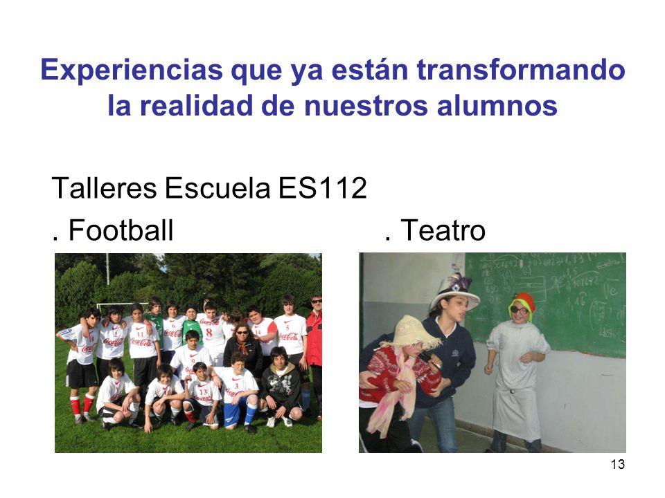 13 Talleres Escuela ES112. Football. Teatro Experiencias que ya están transformando la realidad de nuestros alumnos