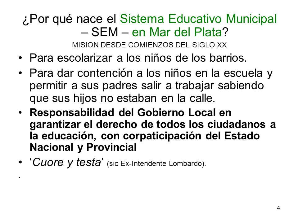 4 ¿Por qué nace el Sistema Educativo Municipal – SEM – en Mar del Plata? MISION DESDE COMIENZOS DEL SIGLO XX Para escolarizar a los niños de los barri