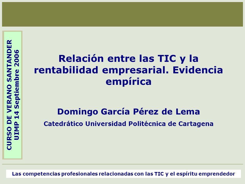 Relación entre las TIC y la rentabilidad empresarial. Evidencia empírica Domingo García Pérez de Lema Catedrático Universidad Politécnica de Cartagena