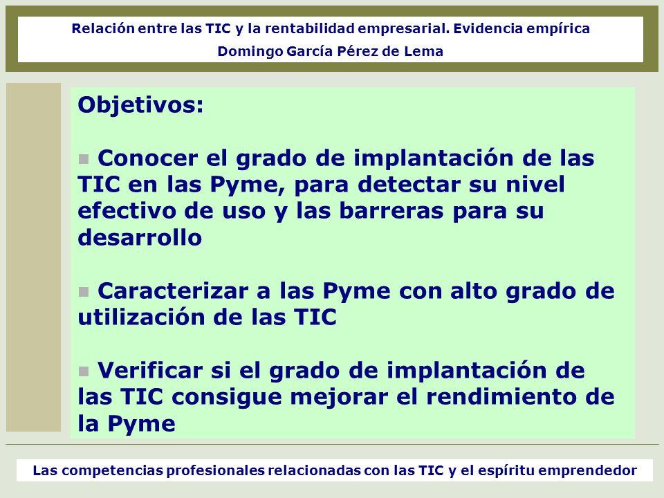 Objetivos: Conocer el grado de implantación de las TIC en las Pyme, para detectar su nivel efectivo de uso y las barreras para su desarrollo Caracteri