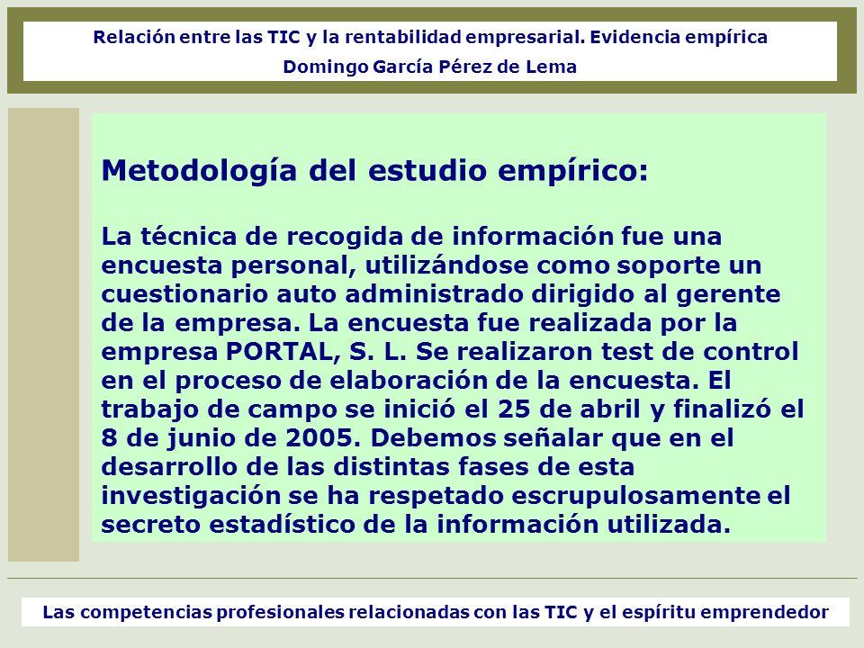 Metodología del estudio empírico: La técnica de recogida de información fue una encuesta personal, utilizándose como soporte un cuestionario auto admi