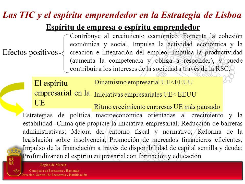 Las TIC y el espíritu emprendedor en la Estrategia de Lisboa Región de Murcia Consejería de Economía y Hacienda Dirección General de Economía y Planif