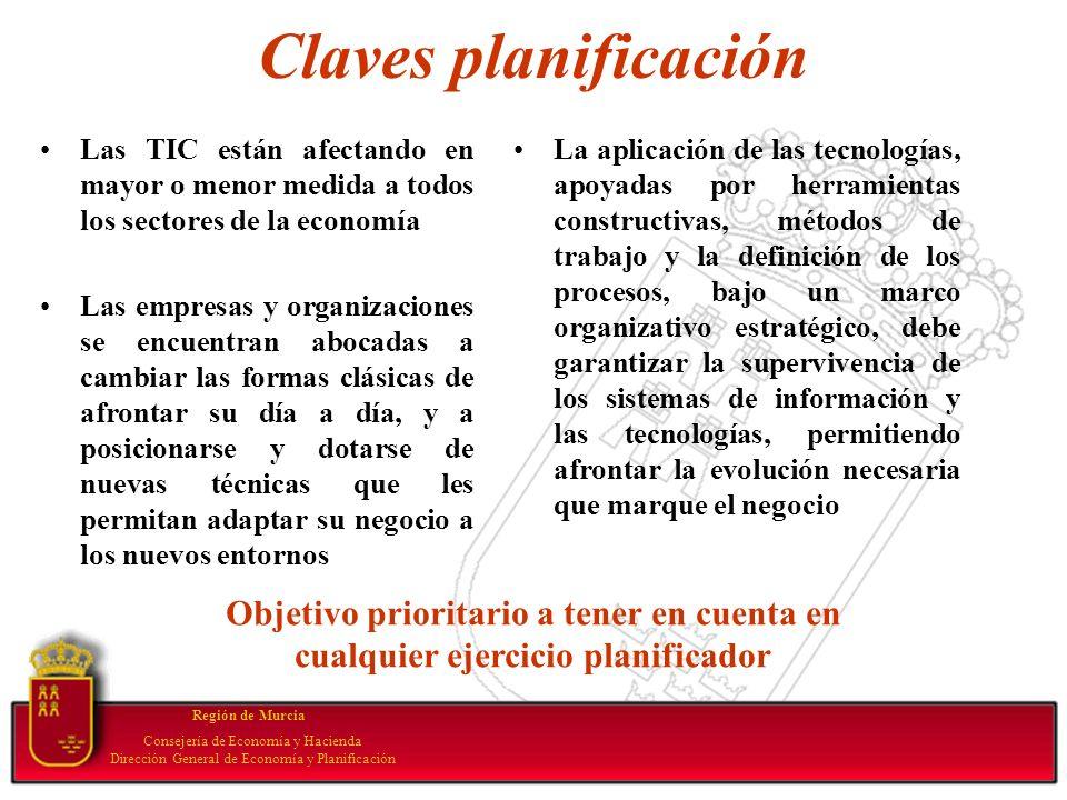 Claves planificación Las TIC están afectando en mayor o menor medida a todos los sectores de la economía Las empresas y organizaciones se encuentran a
