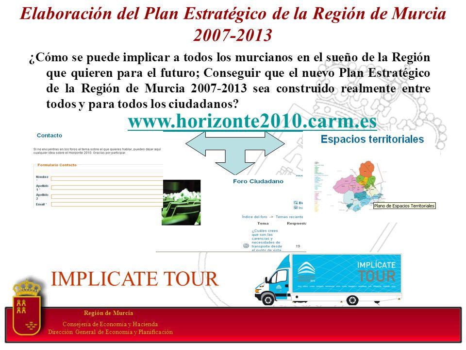 Elaboración del Plan Estratégico de la Región de Murcia 2007-2013 ¿Cómo se puede implicar a todos los murcianos en el sueño de la Región que quieren p