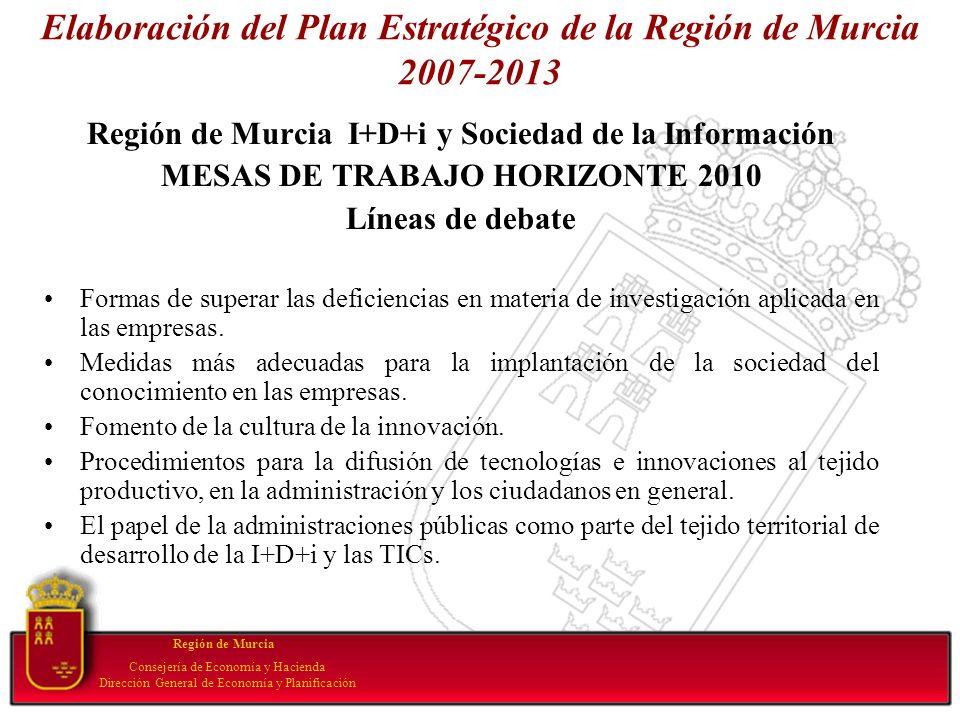Elaboración del Plan Estratégico de la Región de Murcia 2007-2013 Región de Murcia I+D+i y Sociedad de la Información MESAS DE TRABAJO HORIZONTE 2010
