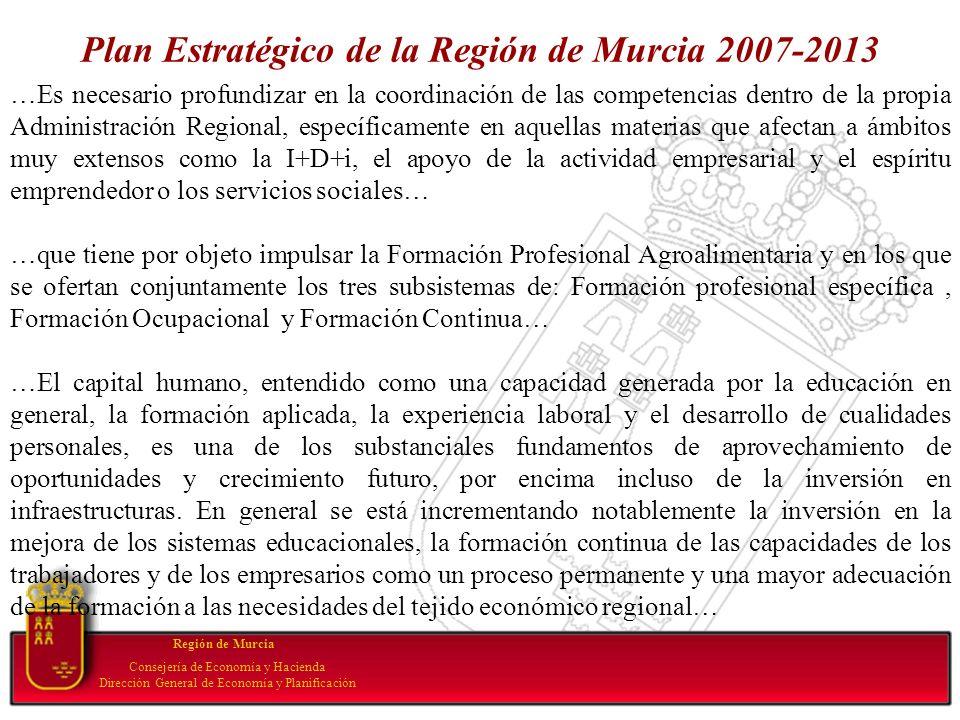 Plan Estratégico de la Región de Murcia 2007-2013 Región de Murcia Consejería de Economía y Hacienda Dirección General de Economía y Planificación …Es