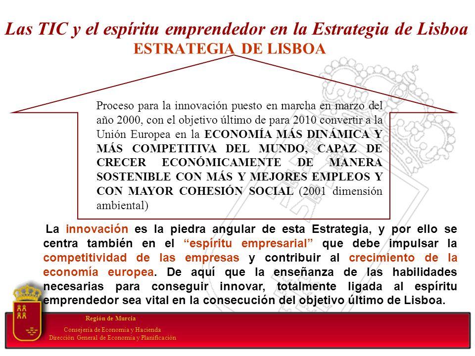 Las TIC y el espíritu emprendedor en la Estrategia de Lisboa ESTRATEGIA DE LISBOA Región de Murcia Consejería de Economía y Hacienda Dirección General