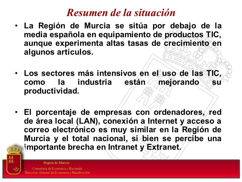 Resumen de la situación La Región de Murcia se sitúa por debajo de la media española en equipamiento de productos TIC, aunque experimenta altas tasas