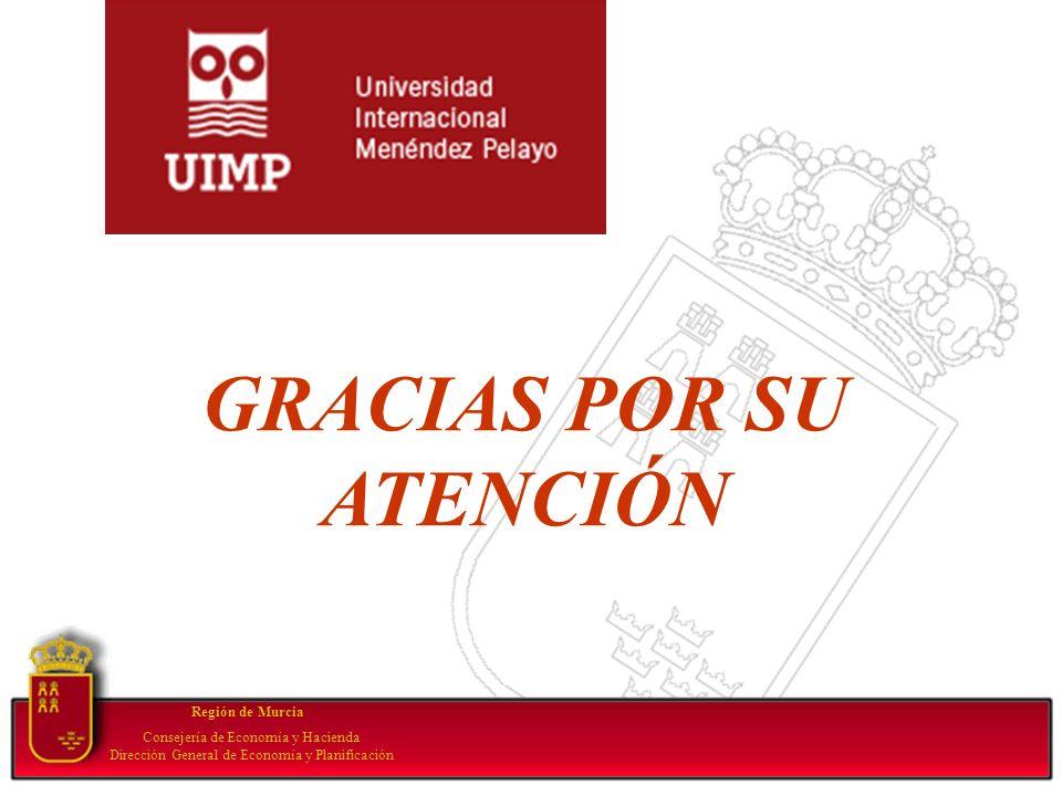 Región de Murcia Consejería de Economía y Hacienda Dirección General de Economía y Planificación GRACIAS POR SU ATENCIÓN