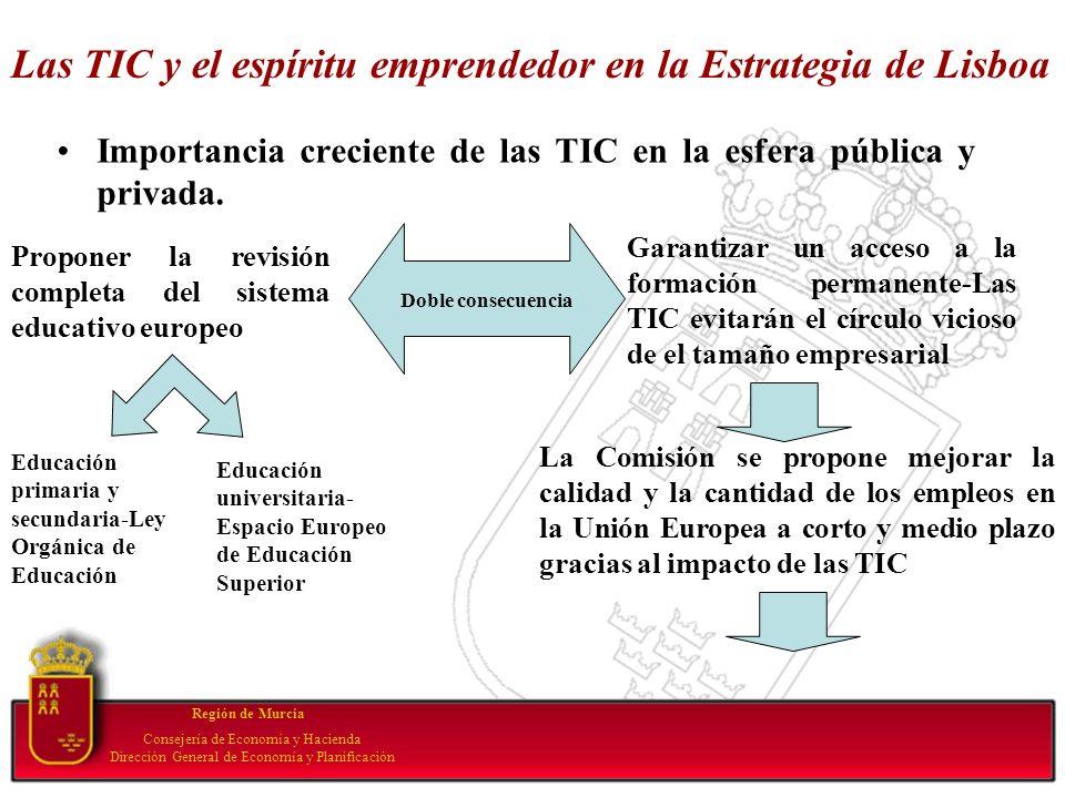 Las TIC y el espíritu emprendedor en la Estrategia de Lisboa Importancia creciente de las TIC en la esfera pública y privada. Región de Murcia Conseje