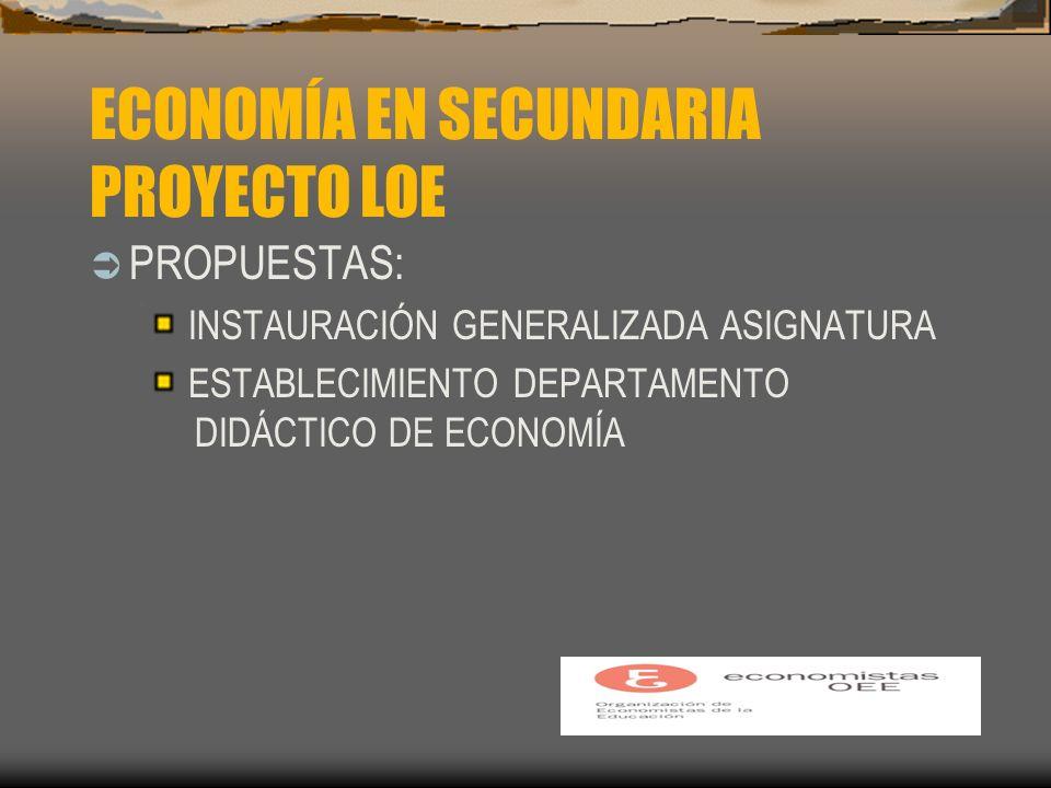 ECONOMÍA EN SECUNDARIA PROYECTO LOE PROPUESTAS: INSTAURACIÓN GENERALIZADA ASIGNATURA ESTABLECIMIENTO DEPARTAMENTO DIDÁCTICO DE ECONOMÍA