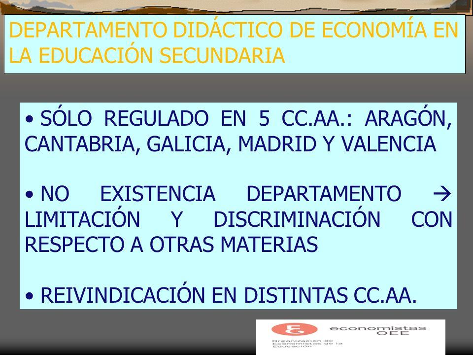 DEPARTAMENTO DIDÁCTICO DE ECONOMÍA EN LA EDUCACIÓN SECUNDARIA SÓLO REGULADO EN 5 CC.AA.: ARAGÓN, CANTABRIA, GALICIA, MADRID Y VALENCIA NO EXISTENCIA DEPARTAMENTO LIMITACIÓN Y DISCRIMINACIÓN CON RESPECTO A OTRAS MATERIAS REIVINDICACIÓN EN DISTINTAS CC.AA.