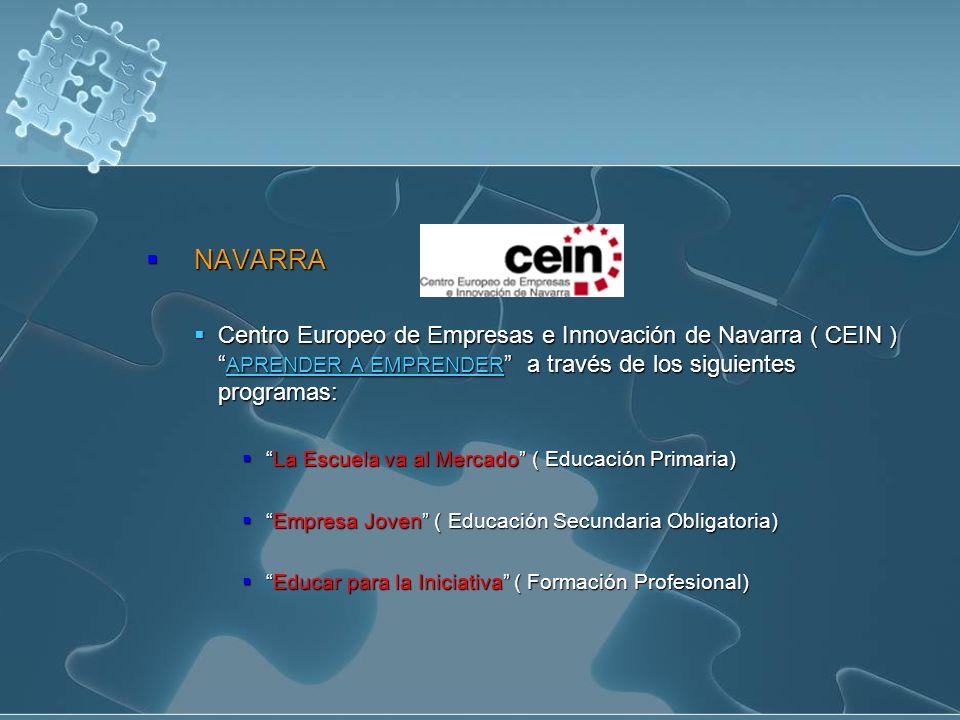 NAVARRA NAVARRA Centro Europeo de Empresas e Innovación de Navarra ( CEIN ) APRENDER A EMPRENDER a través de los siguientes programas: Centro Europeo de Empresas e Innovación de Navarra ( CEIN ) APRENDER A EMPRENDER a través de los siguientes programas: APRENDER A EMPRENDER APRENDER A EMPRENDER La Escuela va al Mercado ( Educación Primaria)La Escuela va al Mercado ( Educación Primaria) Empresa Joven ( Educación Secundaria Obligatoria)Empresa Joven ( Educación Secundaria Obligatoria) Educar para la Iniciativa ( Formación Profesional)Educar para la Iniciativa ( Formación Profesional)