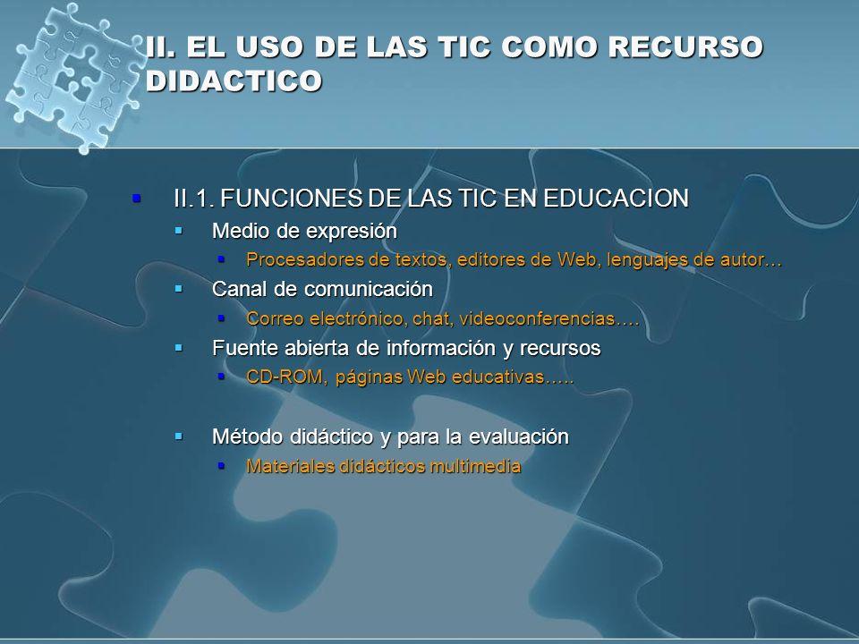 II. EL USO DE LAS TIC COMO RECURSO DIDACTICO II.1. FUNCIONES DE LAS TIC EN EDUCACION II.1. FUNCIONES DE LAS TIC EN EDUCACION Medio de expresión Medio