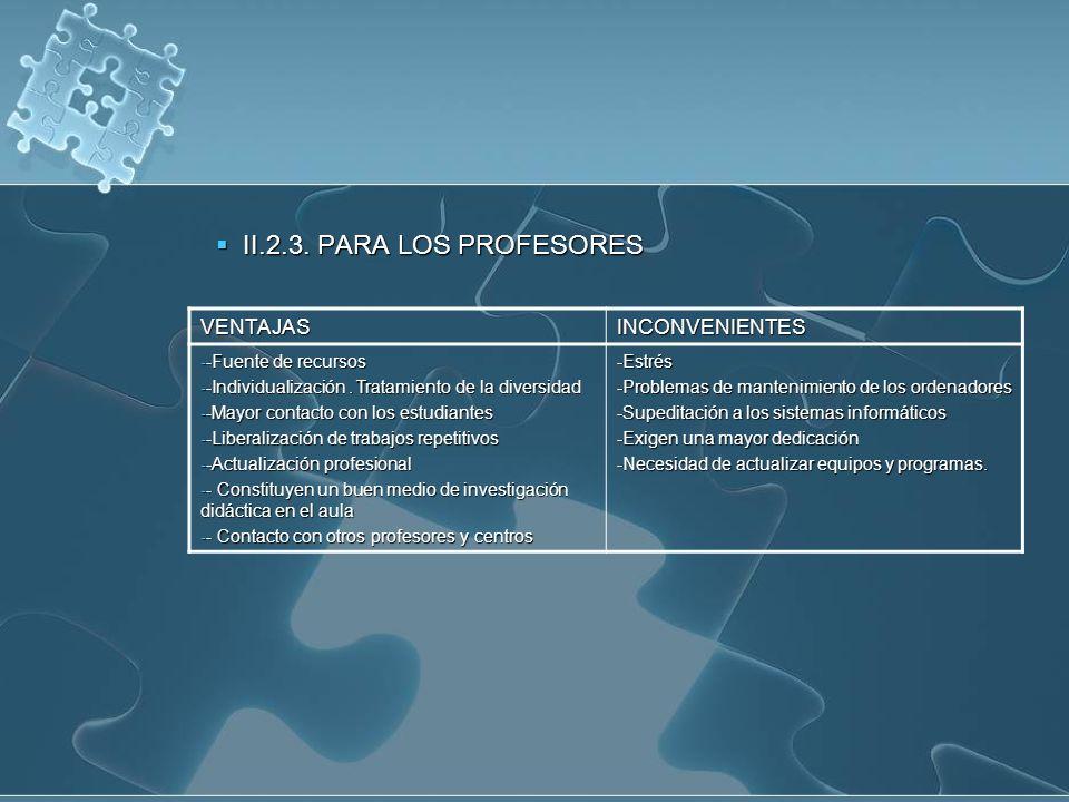II.2.3. PARA LOS PROFESORES II.2.3. PARA LOS PROFESORES VENTAJASINCONVENIENTES - -Fuente de recursos - -Individualización. Tratamiento de la diversida