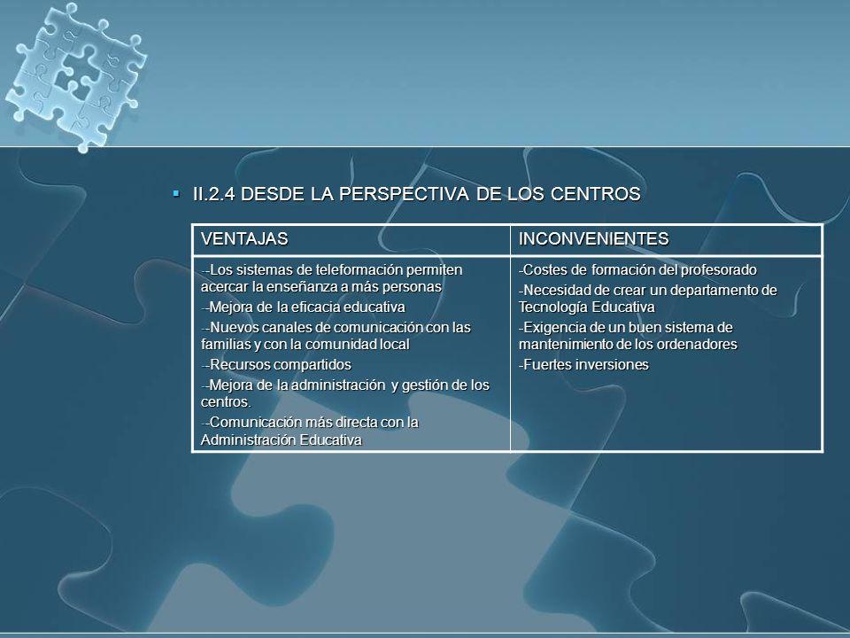 II.2.4 DESDE LA PERSPECTIVA DE LOS CENTROS II.2.4 DESDE LA PERSPECTIVA DE LOS CENTROS VENTAJASINCONVENIENTES - -Los sistemas de teleformación permiten acercar la enseñanza a más personas - -Mejora de la eficacia educativa - -Nuevos canales de comunicación con las familias y con la comunidad local - -Recursos compartidos - -Mejora de la administración y gestión de los centros.