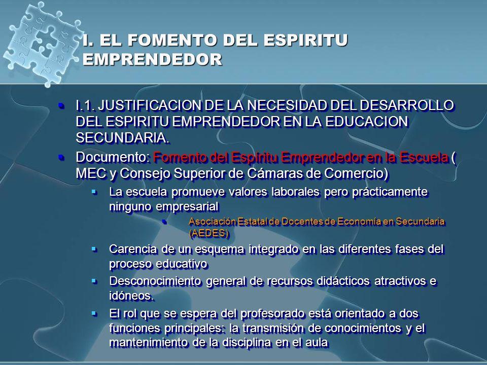 I. EL FOMENTO DEL ESPIRITU EMPRENDEDOR I.1. JUSTIFICACION DE LA NECESIDAD DEL DESARROLLO DEL ESPIRITU EMPRENDEDOR EN LA EDUCACION SECUNDARIA. I.1. JUS