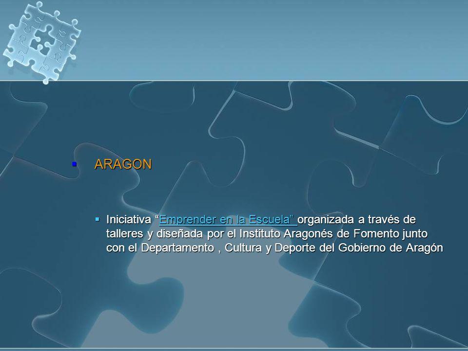 ARAGON ARAGON Iniciativa Emprender en la Escuela organizada a través de talleres y diseñada por el Instituto Aragonés de Fomento junto con el Departam
