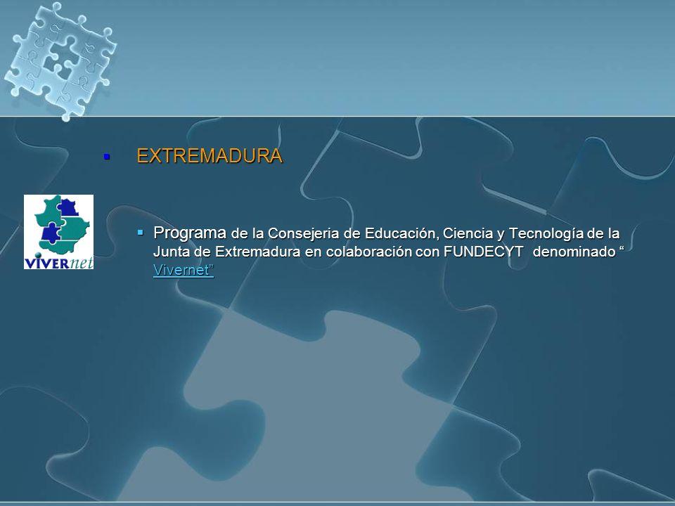 EXTREMADURA EXTREMADURA Programa de la Consejeria de Educación, Ciencia y Tecnología de la Junta de Extremadura en colaboración con FUNDECYT denominado Vivernet Programa de la Consejeria de Educación, Ciencia y Tecnología de la Junta de Extremadura en colaboración con FUNDECYT denominado Vivernet Vivernet Vivernet
