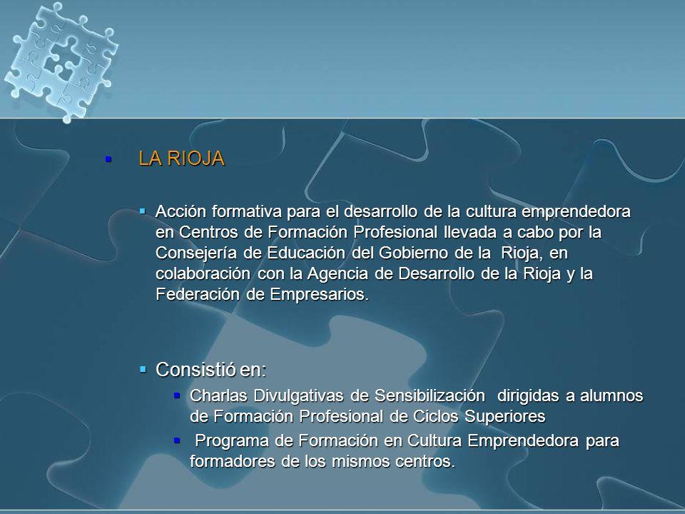 LA RIOJA LA RIOJA Acción formativa para el desarrollo de la cultura emprendedora en Centros de Formación Profesional llevada a cabo por la Consejería de Educación del Gobierno de la Rioja, en colaboración con la Agencia de Desarrollo de la Rioja y la Federación de Empresarios.