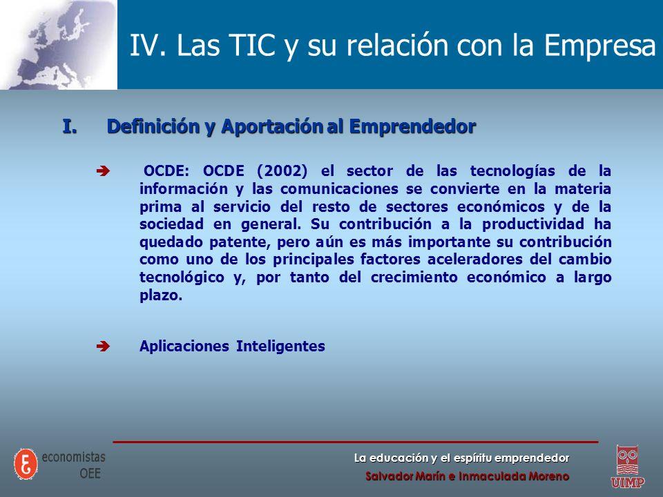 La educación y el espíritu emprendedor Salvador Marín e Inmaculada Moreno IV. Las TIC y su relación con la Empresa I.Definición y Aportación al Empren