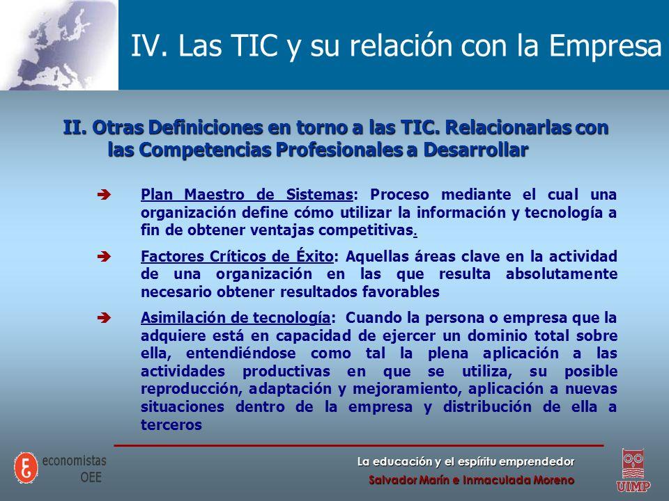 La educación y el espíritu emprendedor Salvador Marín e Inmaculada Moreno IV. Las TIC y su relación con la Empresa II. Otras Definiciones en torno a l
