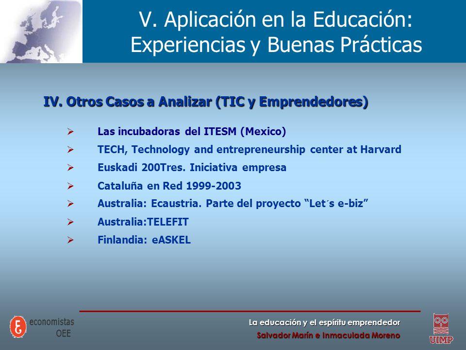 La educación y el espíritu emprendedor Salvador Marín e Inmaculada Moreno V. Aplicación en la Educación: Experiencias y Buenas Prácticas IV. Otros Cas