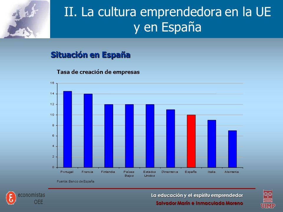 La educación y el espíritu emprendedor Salvador Marín e Inmaculada Moreno II. La cultura emprendedora en la UE y en España Situación en España Tasa de