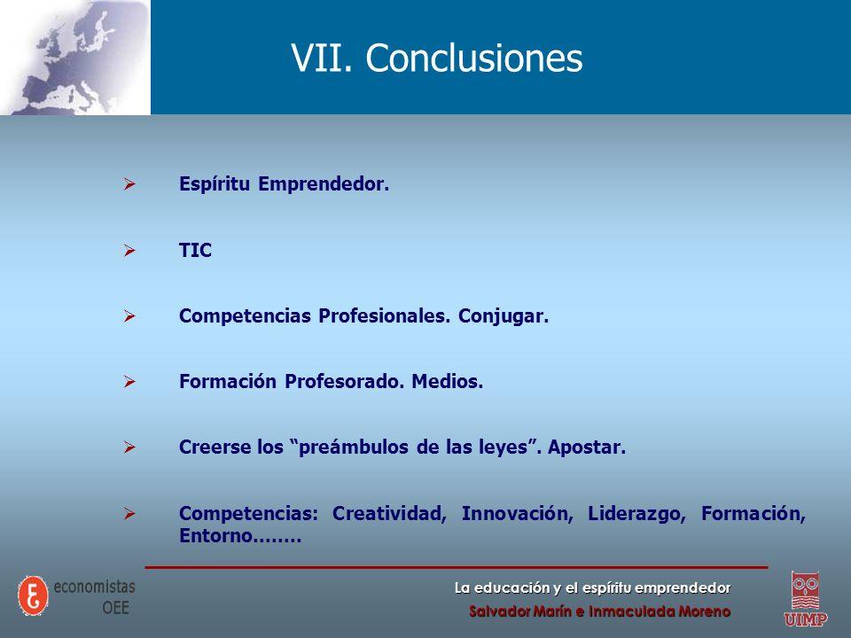 La educación y el espíritu emprendedor Salvador Marín e Inmaculada Moreno VII. Conclusiones Espíritu Emprendedor. TIC Competencias Profesionales. Conj