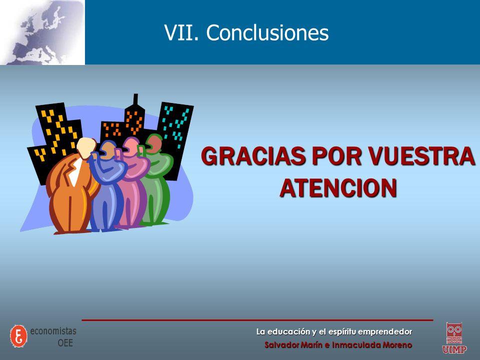 La educación y el espíritu emprendedor Salvador Marín e Inmaculada Moreno VII. Conclusiones GRACIAS POR VUESTRA ATENCION