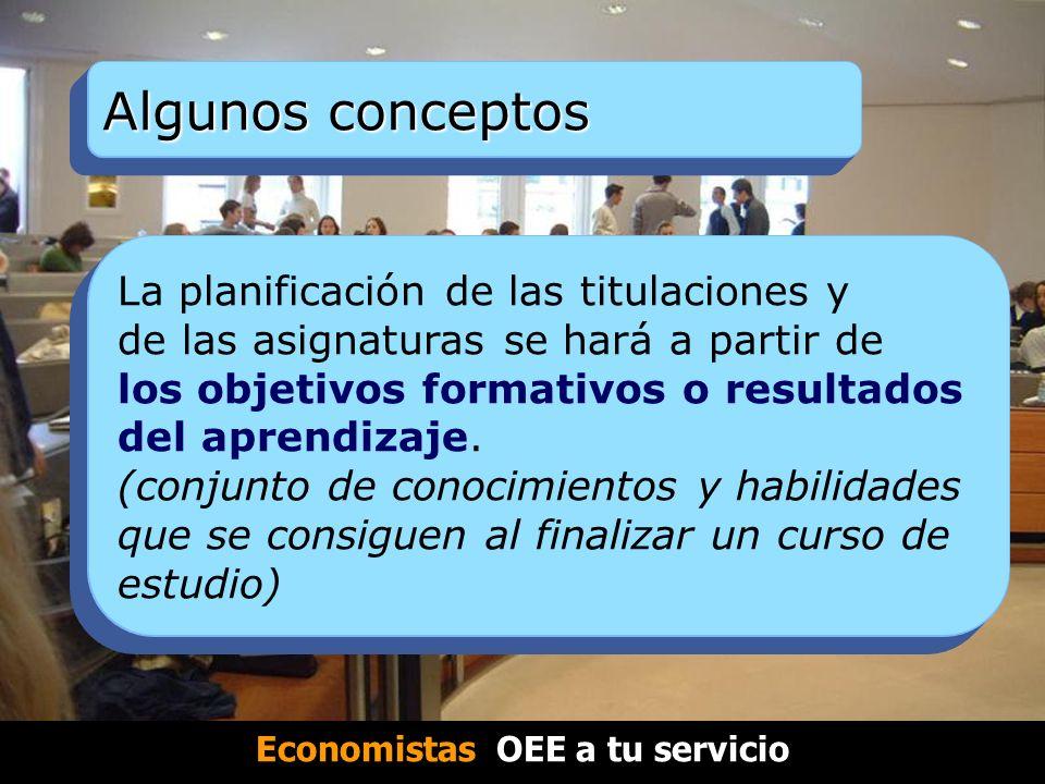Algunos conceptos La planificación de las titulaciones y de las asignaturas se hará a partir de los objetivos formativos o resultados del aprendizaje.