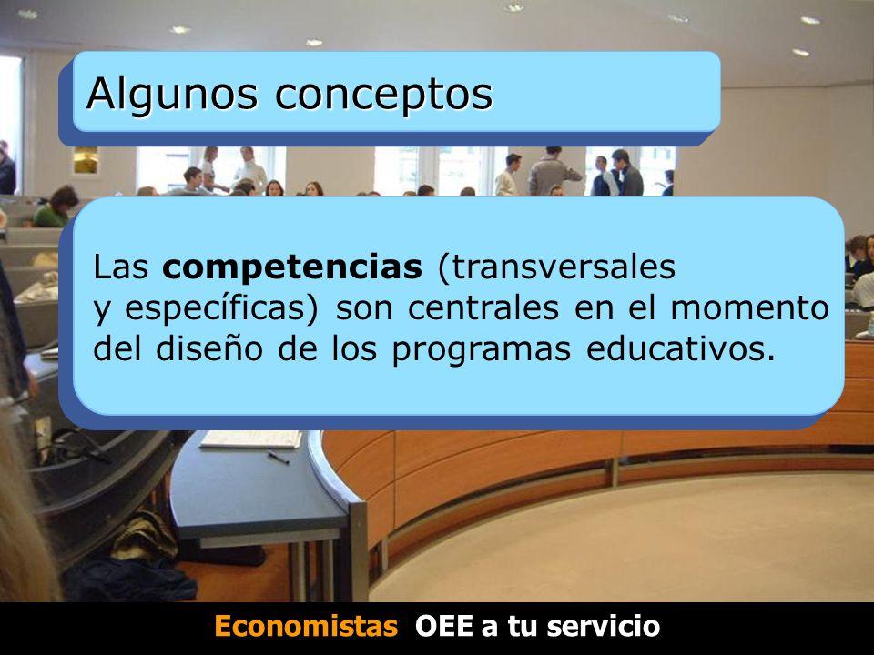 Algunos conceptos Las competencias (transversales y específicas) son centrales en el momento del diseño de los programas educativos.