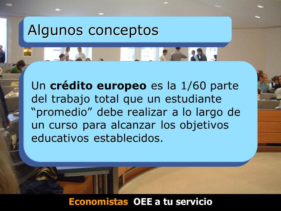 Algunos conceptos Un crédito europeo es la 1/60 parte del trabajo total que un estudiante promedio debe realizar a lo largo de un curso para alcanzar los objetivos educativos establecidos.