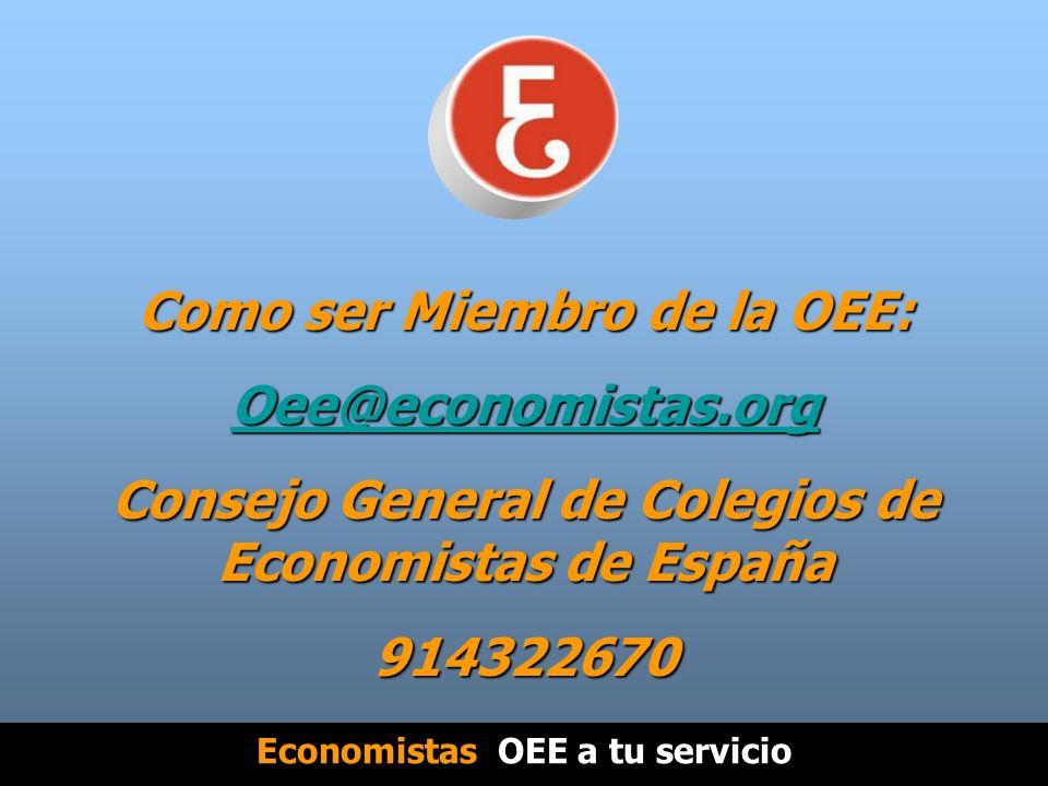 Como ser Miembro de la OEE: Oee@economistas.org Consejo General de Colegios de Economistas de España 914322670 Economistas OEE a tu servicio