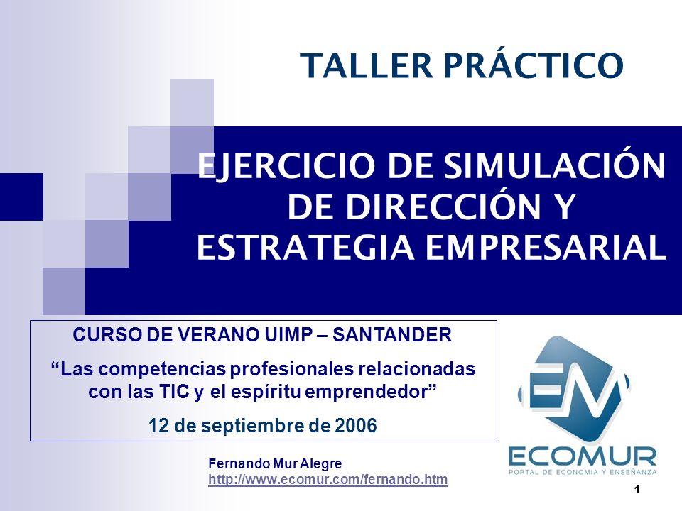 1 EJERCICIO DE SIMULACIÓN DE DIRECCIÓN Y ESTRATEGIA EMPRESARIAL Fernando Mur Alegre http://www.ecomur.com/fernando.htm TALLER PRÁCTICO CURSO DE VERANO