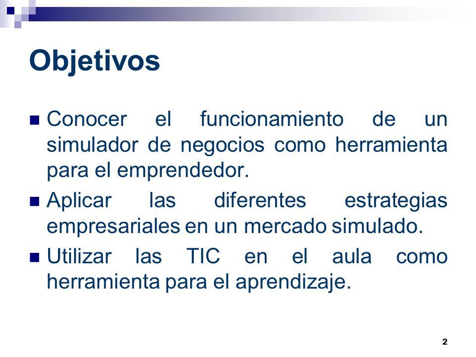 2 Objetivos Conocer el funcionamiento de un simulador de negocios como herramienta para el emprendedor. Aplicar las diferentes estrategias empresarial