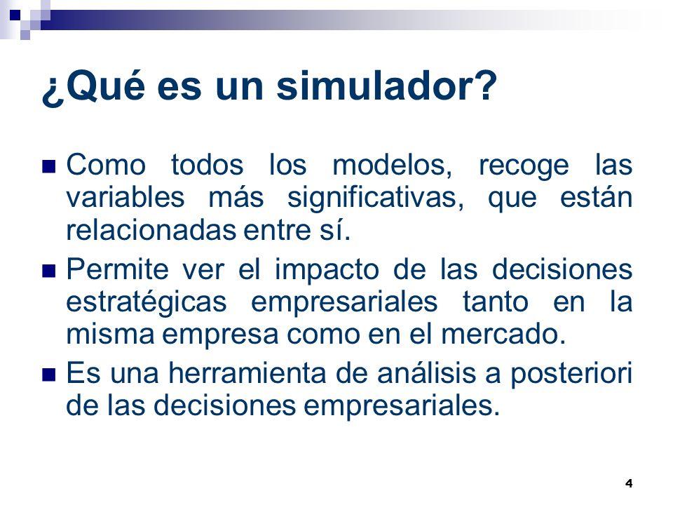 4 ¿Qué es un simulador? Como todos los modelos, recoge las variables más significativas, que están relacionadas entre sí. Permite ver el impacto de la