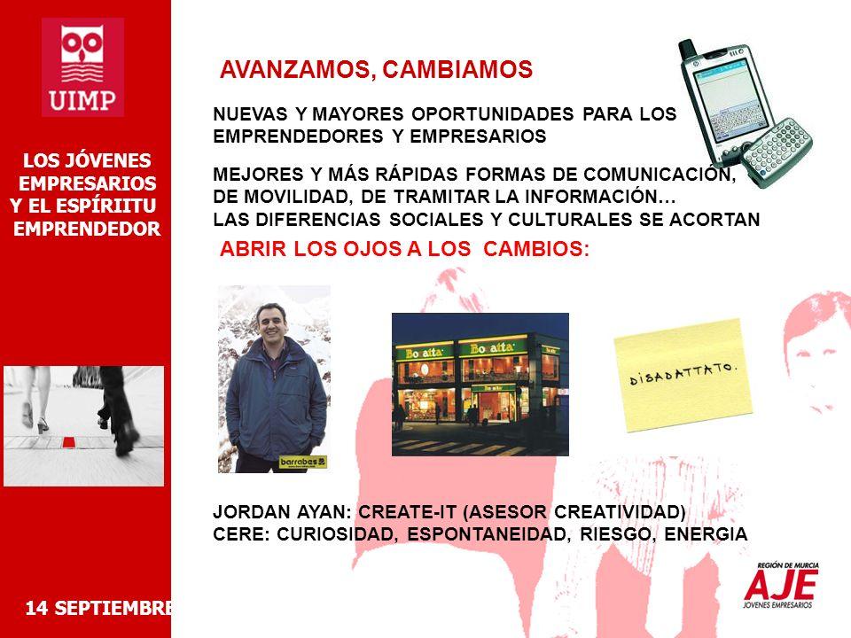 INTERNET 14 SEPTIEMBRE 2006 LOS JÓVENES EMPRESARIOS Y EL ESPÍRIITU EMPRENDEDOR -REVOLUCIÓN MUNDIAL PARA EL INTERCAMBIO DE LA INFORMACIÓN -DESAPROVECHADA POR LA GRAN MAYORIA DE PYMES (NO SOLO ES CUESTION DE PÁGINA WEB) -RETO ES APLICAR TODAS LAS OPCIONES DE MOVILIDAD A LA GESTIÓN DEL NEGOCIO % EMPRESAS CON ACCESO A INTERNET