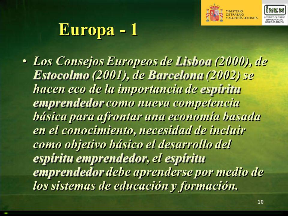 10 Europa - 1 Lisboa Estocolmo Barcelona espíritu emprendedor espíritu emprendedorespíritu emprendedorLos Consejos Europeos de Lisboa (2000), de Estoc