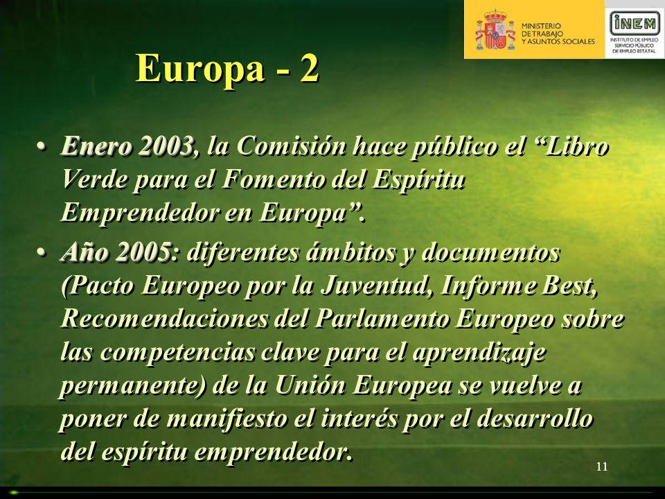 11 Europa - 2 Enero 2003Enero 2003, la Comisión hace público el Libro Verde para el Fomento del Espíritu Emprendedor en Europa. Año 2005Año 2005: dife