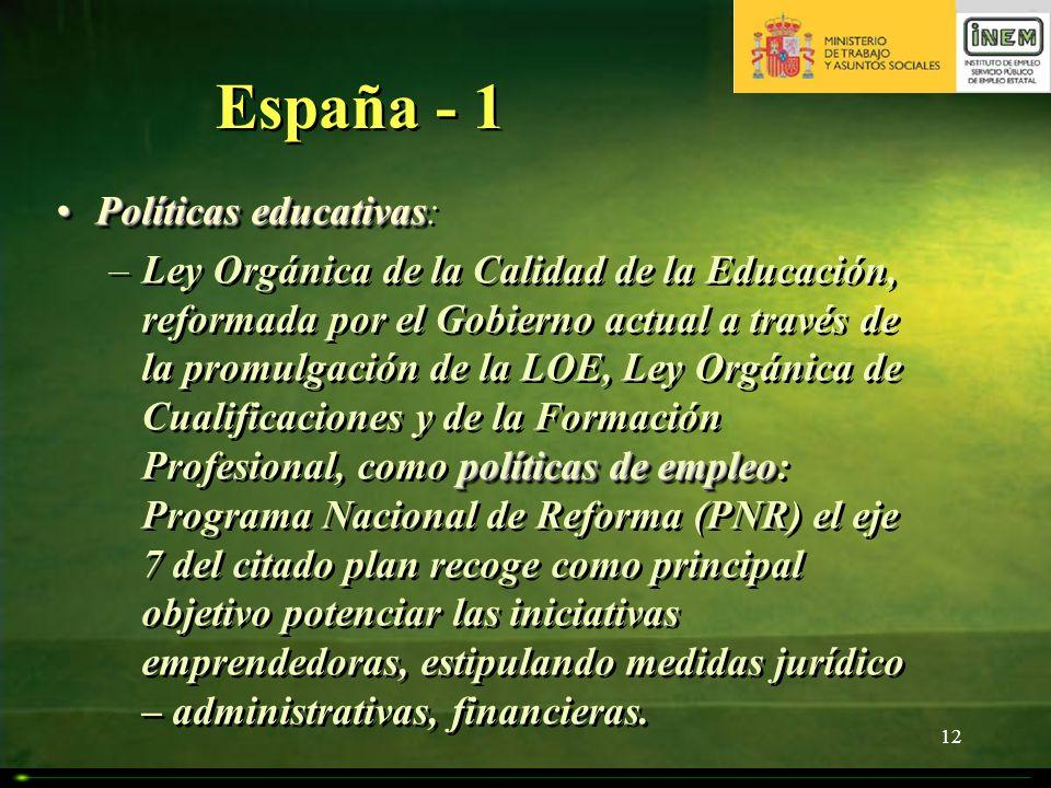 12 España - 1 Políticas educativasPolíticas educativas: políticas de empleo –Ley Orgánica de la Calidad de la Educación, reformada por el Gobierno act