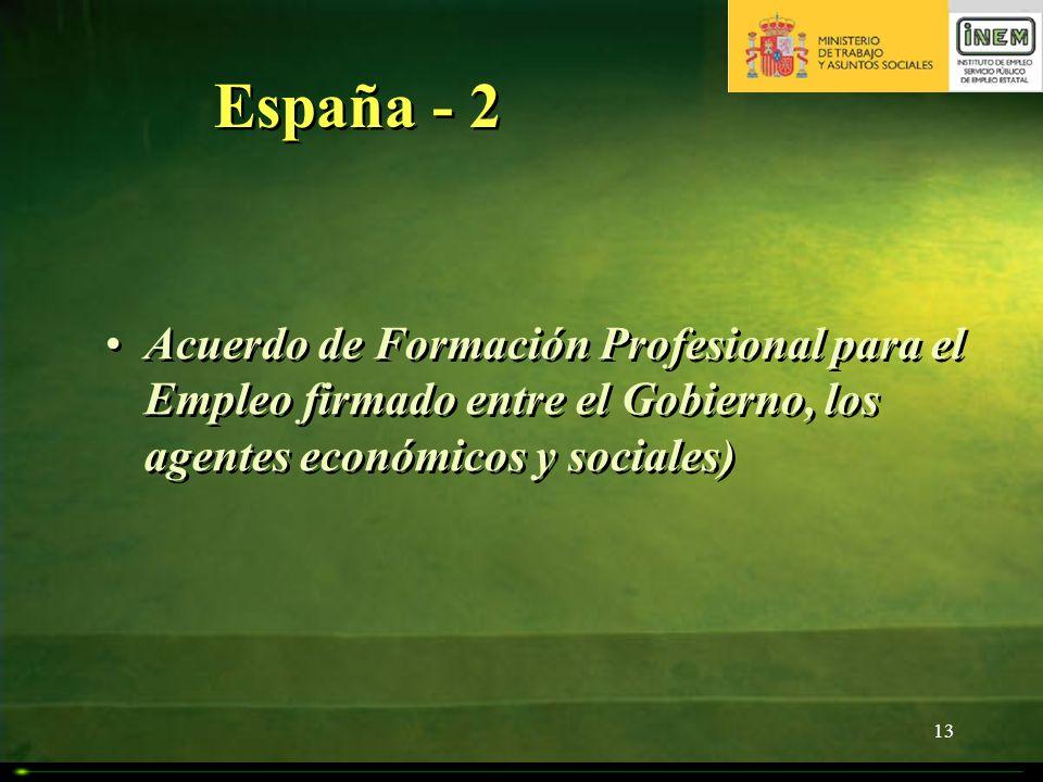 13 España - 2 Acuerdo de Formación Profesional para el Empleo firmado entre el Gobierno, los agentes económicos y sociales)