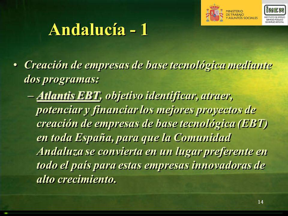 14 Andalucía - 1 Creación de empresas de base tecnológica mediante dos programas: –Atlantis EBT –Atlantis EBT, objetivo identificar, atraer, potenciar