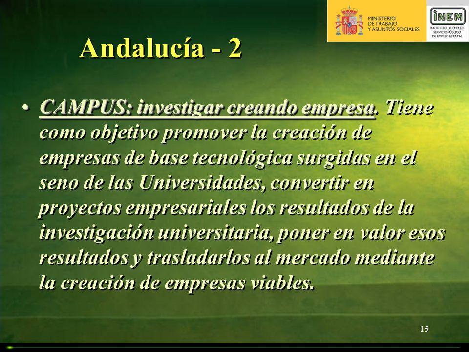15 Andalucía - 2 CAMPUS: investigar creando empresaCAMPUS: investigar creando empresa. Tiene como objetivo promover la creación de empresas de base te